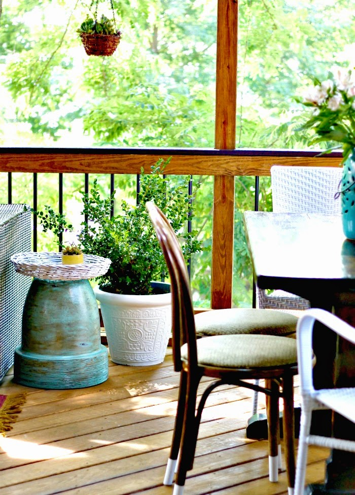side table for outdoors from planter