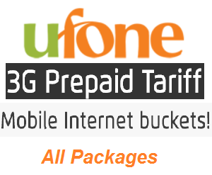 Ufone Prepaid All 3G Internet Packages and Offers