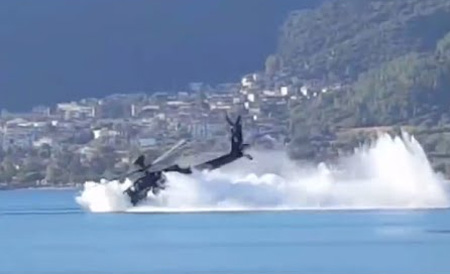 Apache helicopter slams nose-down into sea during exercise in Greece