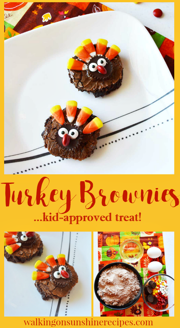 Easy Thanksgiving Turkey Brownies | A fun treat for the kids this Thanksgiving Day | Walking on Sunshine Recipes #thanksgivingtreats