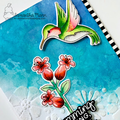Humming Along, Thinking of You Card by Samantha Mann for Newton's Nook Designs, Distress Inks, Watercolor, Embossing Paste, Stencil, Glitter, Cards, Handmade Cards, #newtonsnook #watercolor #distressinks #cards #cardmaking #embossing paste