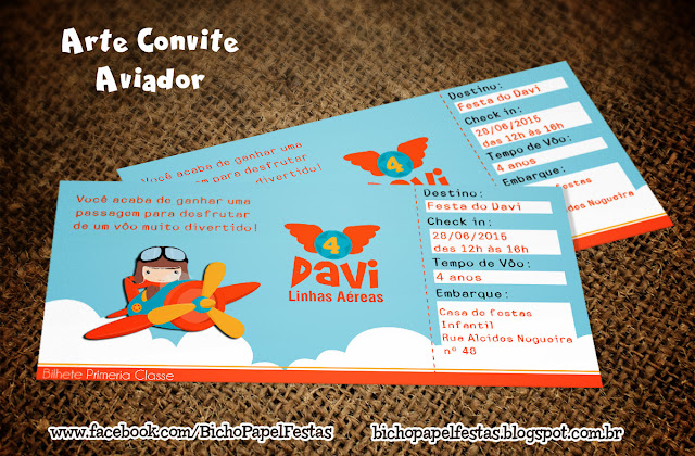 Arte Convite Passagem Aérea aviador