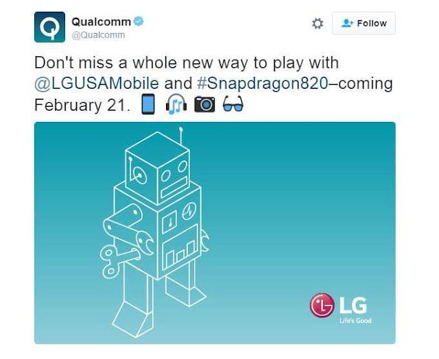 Qualcomm mengkonfirmasikan bahwa LG G5 akan menggunakan chip Snapdragon 820