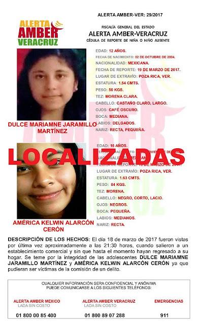 Desactivan 3 Alerta Amber en Coatzacoalcos Poza Rica y Misantla Veracruz