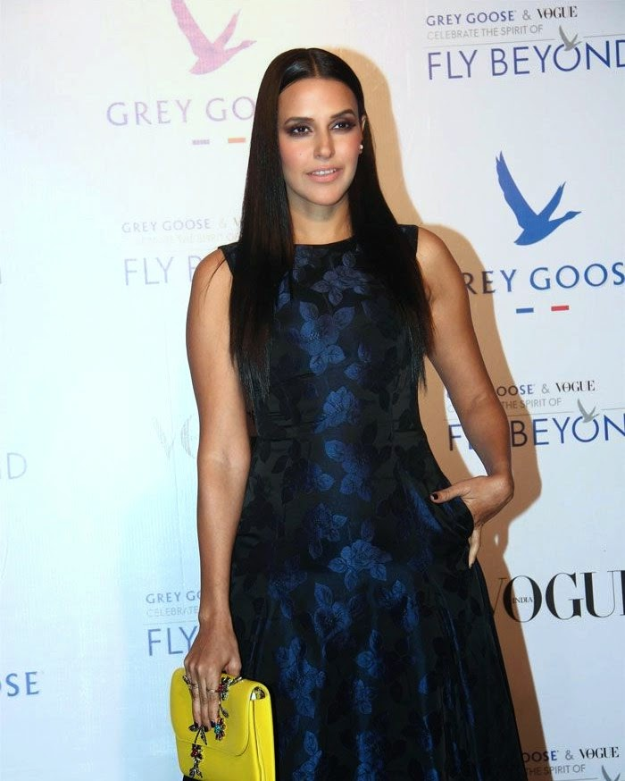 Neha Dhupia, Pics from Red Carpet of Grey Goose & Vogue's Fly Beyond Awards 2014