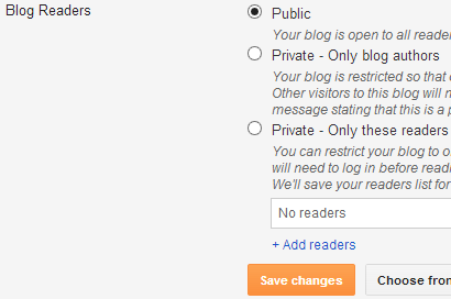 Blog Readers Permission in Blogger Site