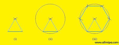 cara menggambar segi enam