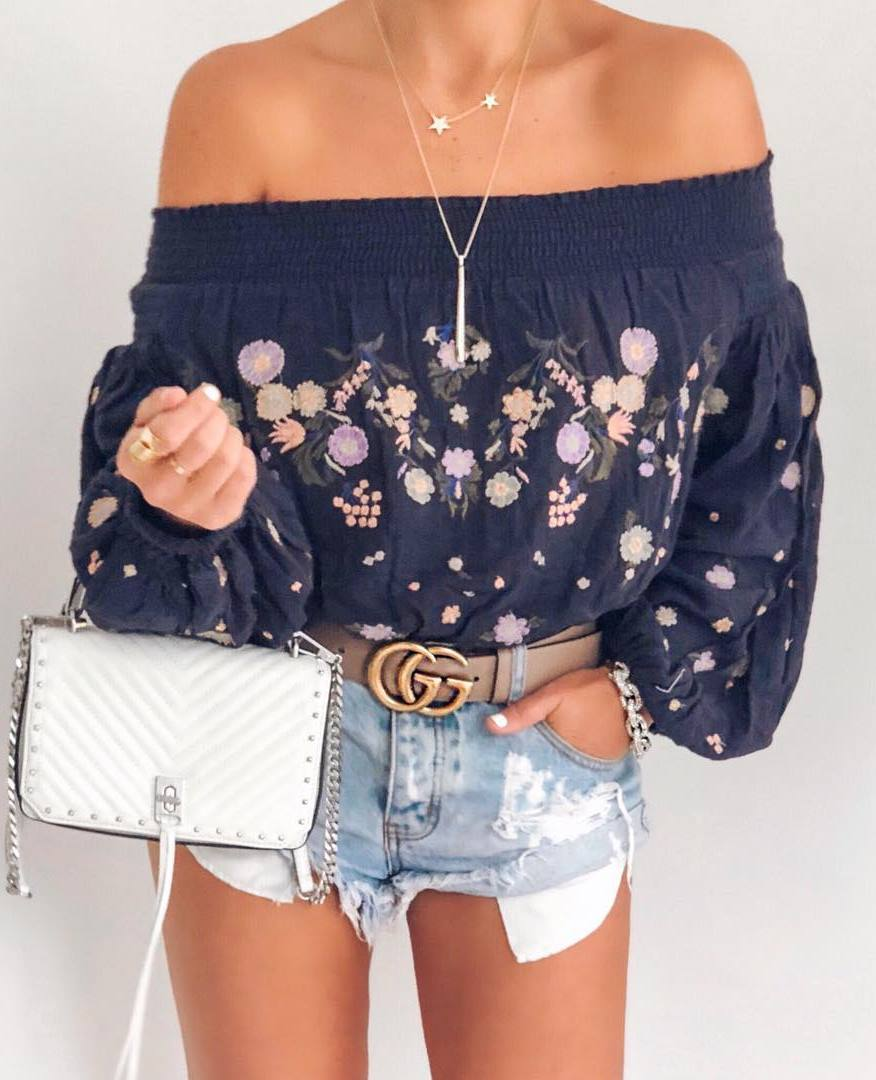 gorgeouse summer outfit / embroidered top + bag + shorts