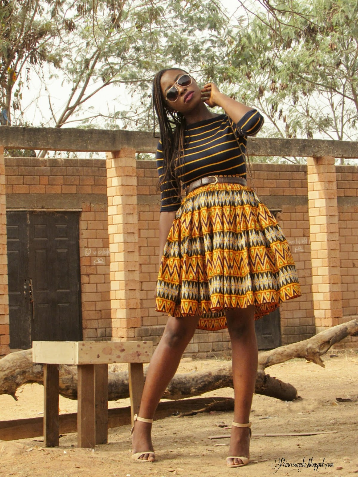 mixing prints, abuja, ankara midi skirt, how to style prints, stripes