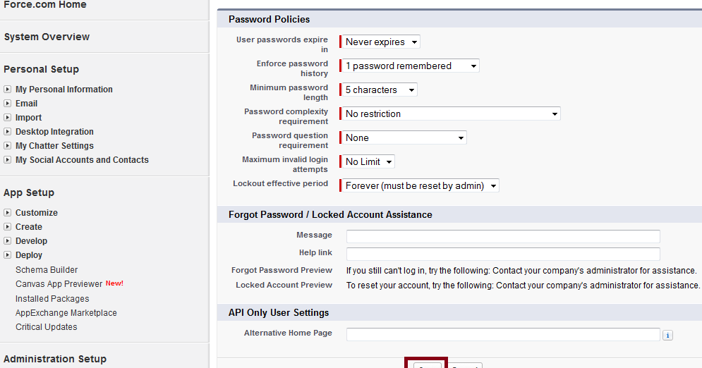 Infallible Techie: Password policies in Salesforce