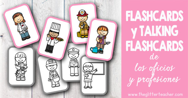 Vídeo de talking flash cards y tarjetas de vocabulario imprimibles de los oficios y profesiones en inglés para educación infantil y educación primaria. Incluye 8 palabras clave del vocabulario de los trabajos: chef, doctor, firefighter, gardener, hairstylist, mail carrier, police officer y teacher