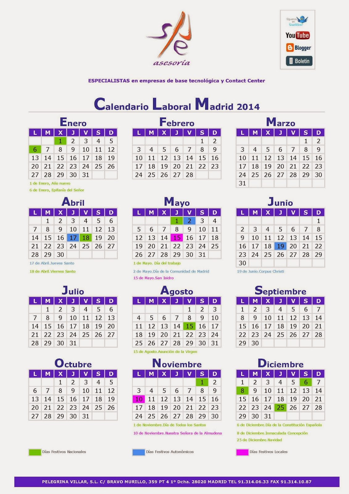 Calendario Laboral De Madrid En 2014 Calendariolaboral ...