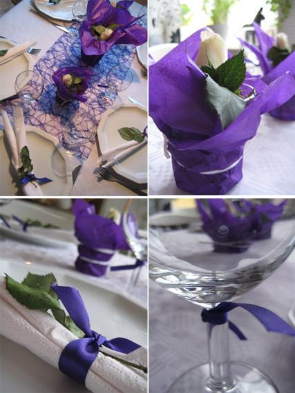 dukning bröllop lila