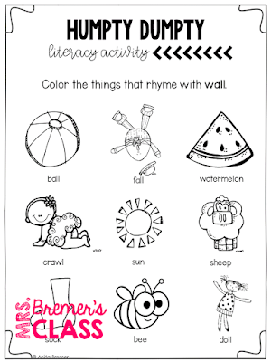 Nursery Rhymes Unit featuring 10 favorite nursery rhymes. The pack includes literacy and math activities, retell puppets, coloring pages, colored posters, text-to-self connection pages, and more! Nursery Rhyme Olympic activities and medals are included too! Common Core aligned. PreK-1 #kindergarten #1stgrade #nurseryrhymes #literacy #guidedreading #bookstudies