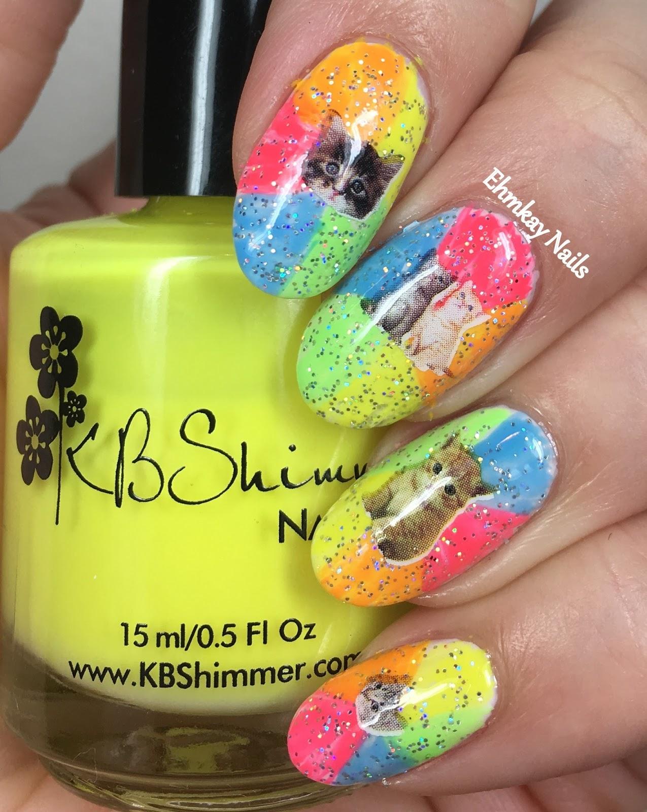 ehmkay nails: Neon Rainbow Cat Katy Perry Nails