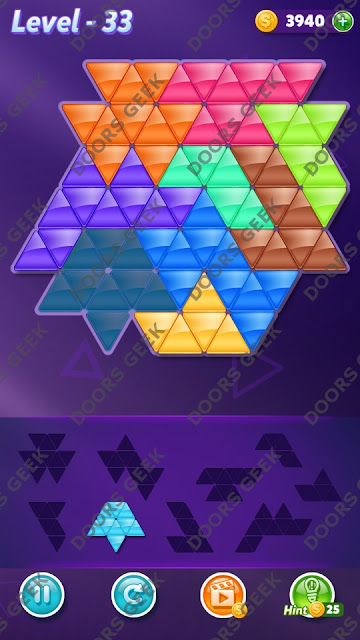 Block! Triangle Puzzle 9 Mania Level 33 Solution, Cheats, Walkthrough for Android, iPhone, iPad and iPod