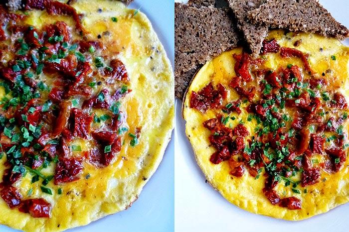Omelette mit getrockneten Tomaten