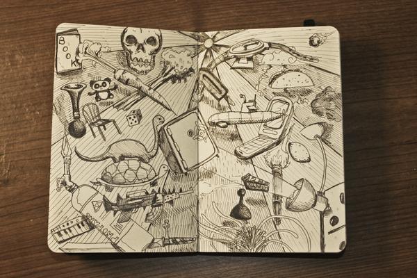 Libreta con bocetos de fantasía
