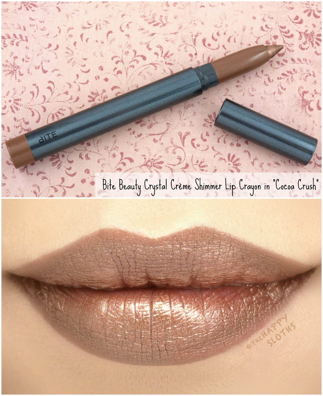 "Bite Beauty | Crystal Crème Shimmer Lip Crayon in ""Cocoa Crush"": Review and Swatches"