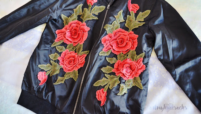 Rose embroidered floral applique bomber jacket from SheIn.