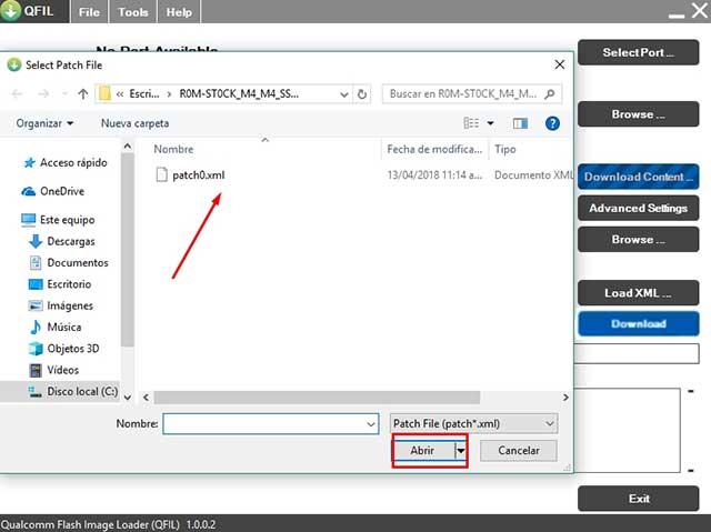 buscar y cargar el archivo Patch