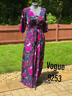 Vogue 9253 floral maxi dress on dress form on Sharon Sews sewing blog