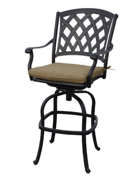 Ocean View Cast Aluminum Swivel Bar Stool with Seat Cushion