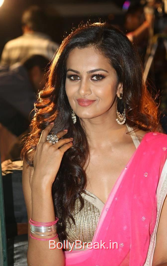Shubra Aiyappa Stills in pink and White Half Saree, Hot Pics of Shubra Aiyappa from Yavvanam Oka Fantasy Audio Launch