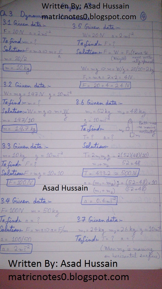 Matric 9th Physics Notes Chapter 3 Numerical Asad Hussain