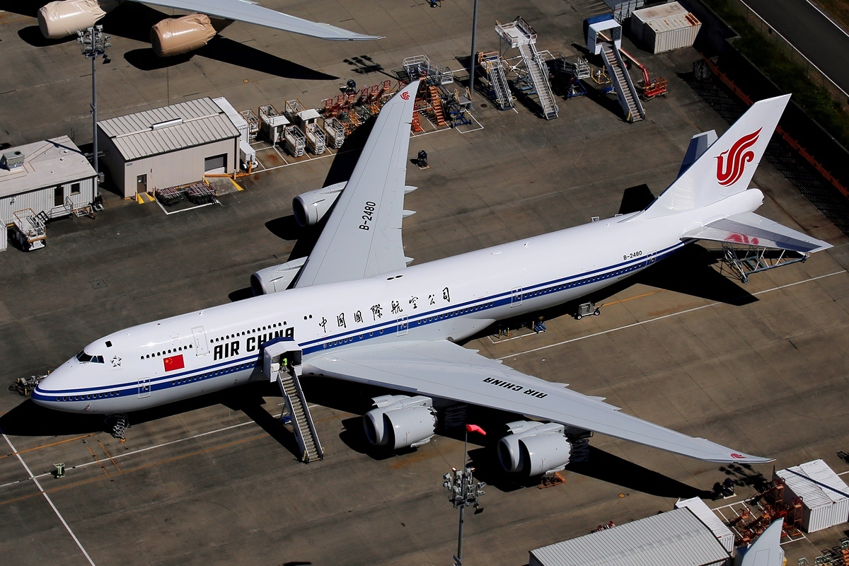 Bird Eye View Of Air China Boeing 747 8i At Airport
