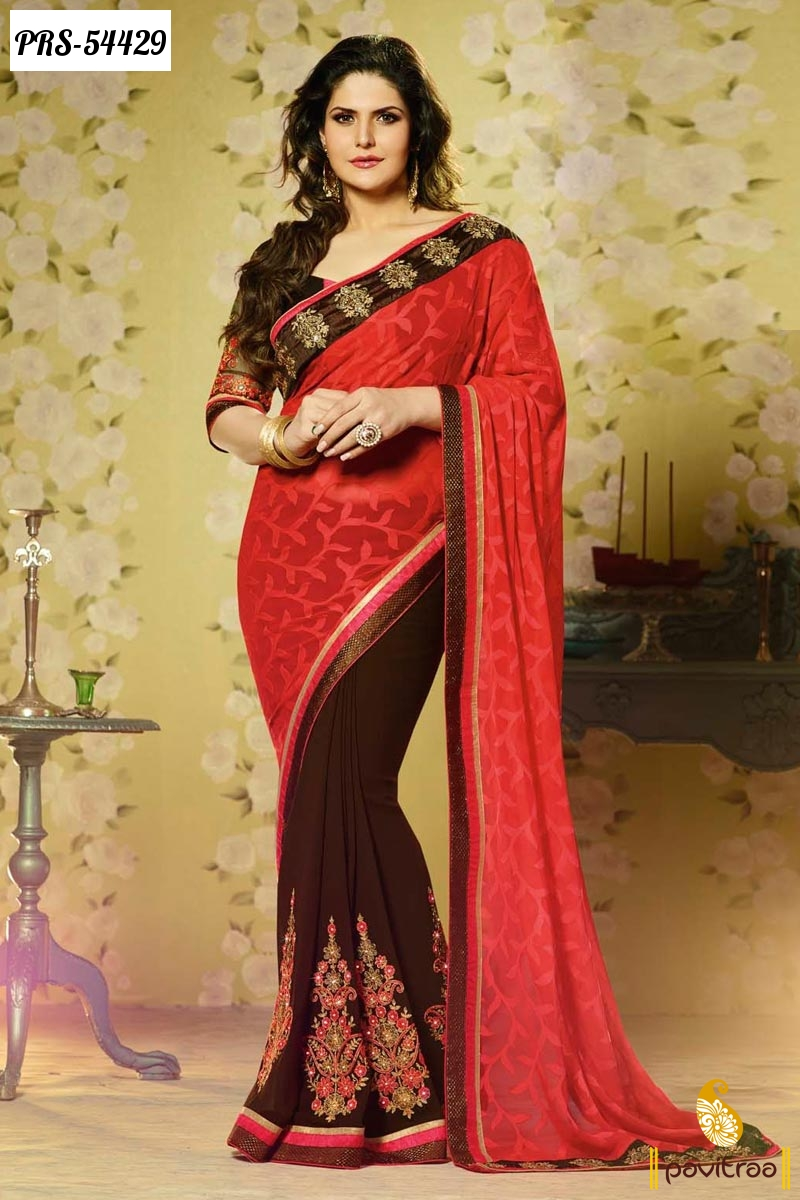 Bollywood Actress Celebrity Zarine Khan Sarees Online Shopping Sale India