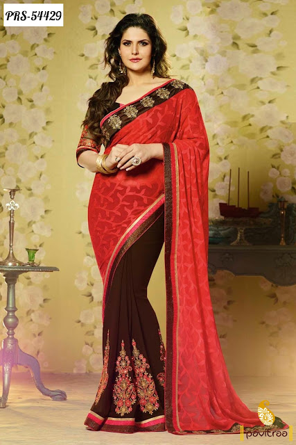 Bollywood actress heroine Zarine Khan brown braso designer saree online shopping with discount sale