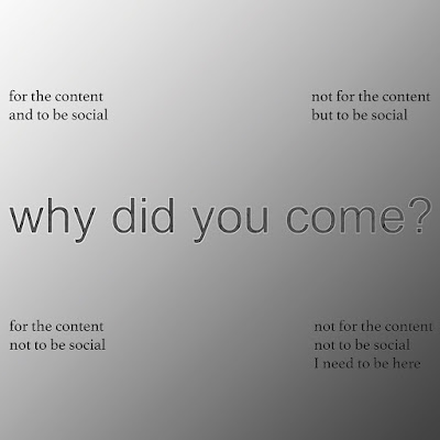 "black and white image with following text on each four corners respectively: for the content and to be social, not for the content but to be social, for the content not to be social, not for the not to be social I need to be here. In the midlde a bigger text: ""why did you come?"""