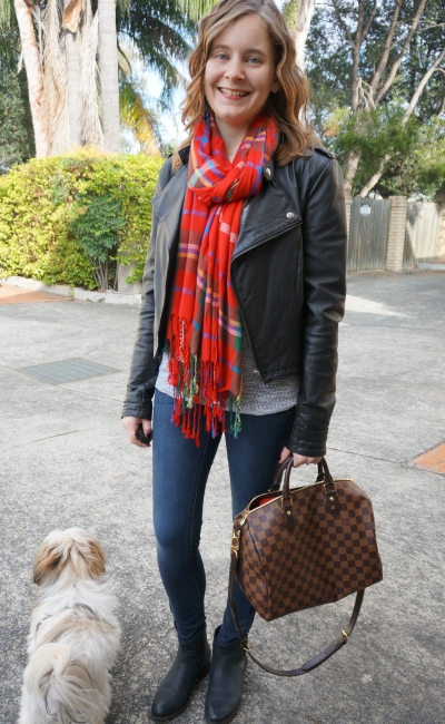 Away From Blue red tartan scarf leather jacket skinny jeans ankle boots winter SAHM Style
