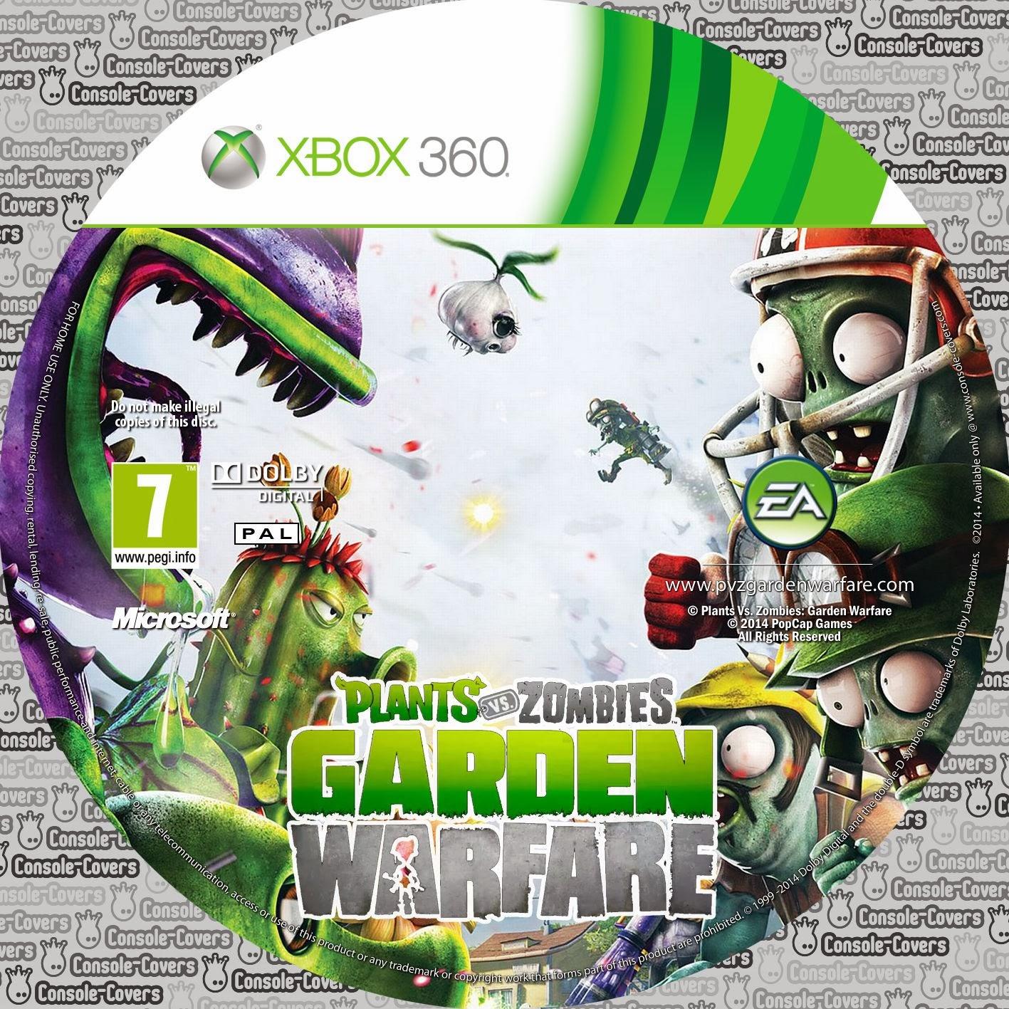 Label Plants Vs Zombies Garden Warfare Xbox 360 Gamecover Capas Customizadas Para Dvd E Bluray