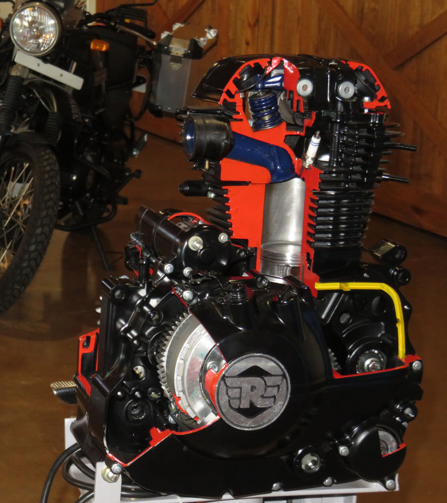 Motorcycle motor on display.