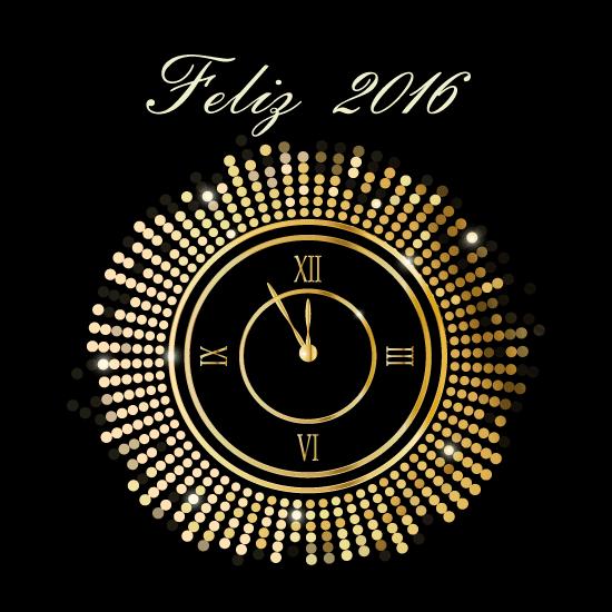 Año Nuevo 2016 con reloj dorado