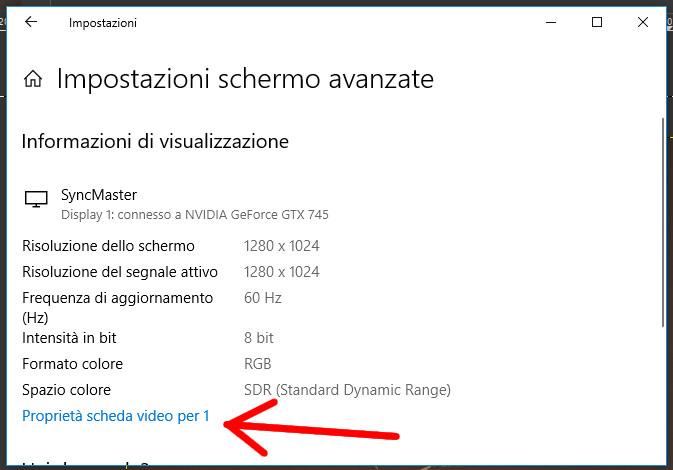 Scelta del monitor da modificare