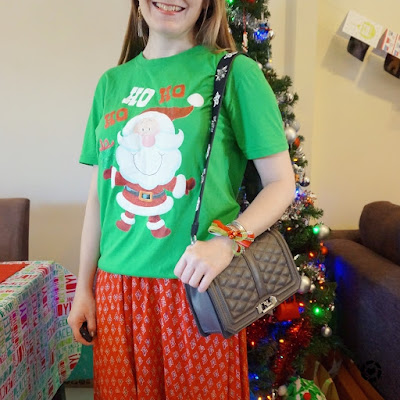 awayfromblue instagram fun festive Christmas outfit casual novelty santa green tee red maxi skirt