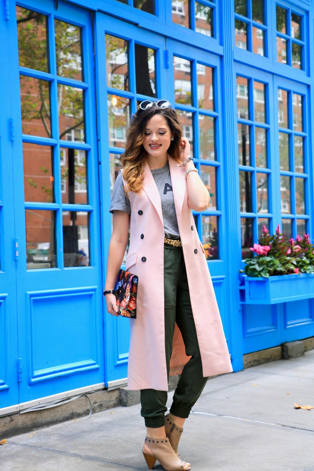 Nyc fashion blogger Kathleen Harper showing how to wear a long vest