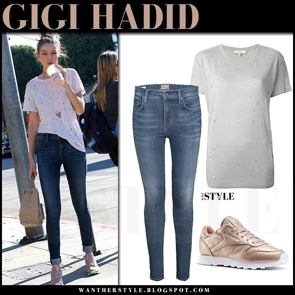 Gigi Hadid in rose gold sneakers reebok, white iro clay t-shirt and skinny jeans a gold e sophie what she wore