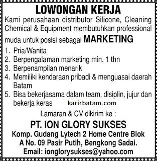 Lowongan Kerja PT. Ion Glory Sukses