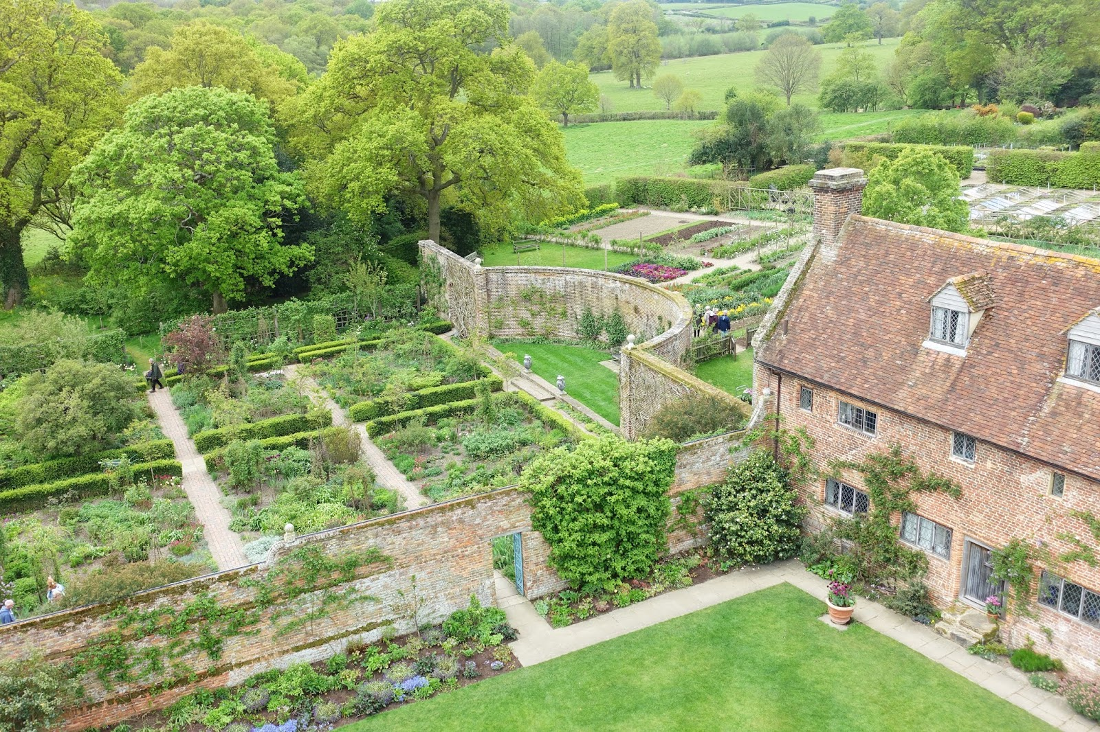 Looking down at the gardens from the tower at Sissinghurst in springtime