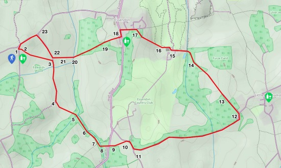Map for walk 11, West End Loop, created by David Brewer, map elements copyright MapHub and Thunderforest