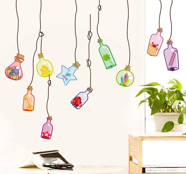 Decals Design 'Beautiful Wall Drift Bottles' Wall Sticker (PVC Vinyl, 45 cm x 60 cm)