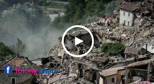 Video Kengerian Gempa Italia Dilihat Dari Udara