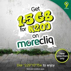 9mobile new 1.5GB for 200 naira