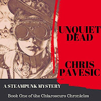 Unquiet Dead by Chris Pavesic audiobook cover. A sepia-tinted woman in a steampunk costume is bordered by a red banner bearing the title.