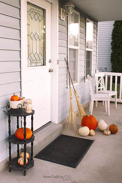 pumpkins, owl, easy DIY brooms front porch decorations fall