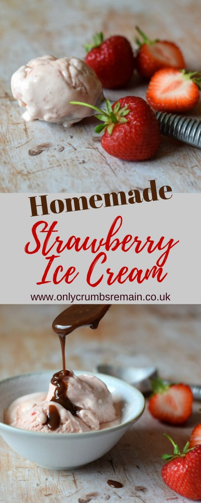 Homemade Strawberry Ice Cream is the perfect refreshing dessert for hot summer days.  It's packed with fresh strawberries and requires just a few store cupboard  ingredients.